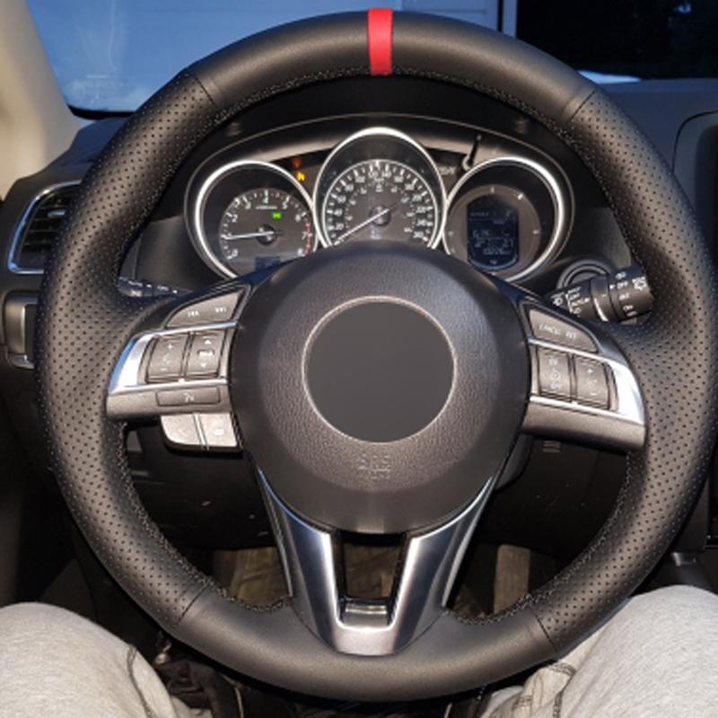 El diker Araç Direksiyon Kapak Nefes Kırmızı Marker için Mazda CX5 CX5 Atenza 2016 CX-3 2016 filiz iA 2014 Yeni Mazda 3