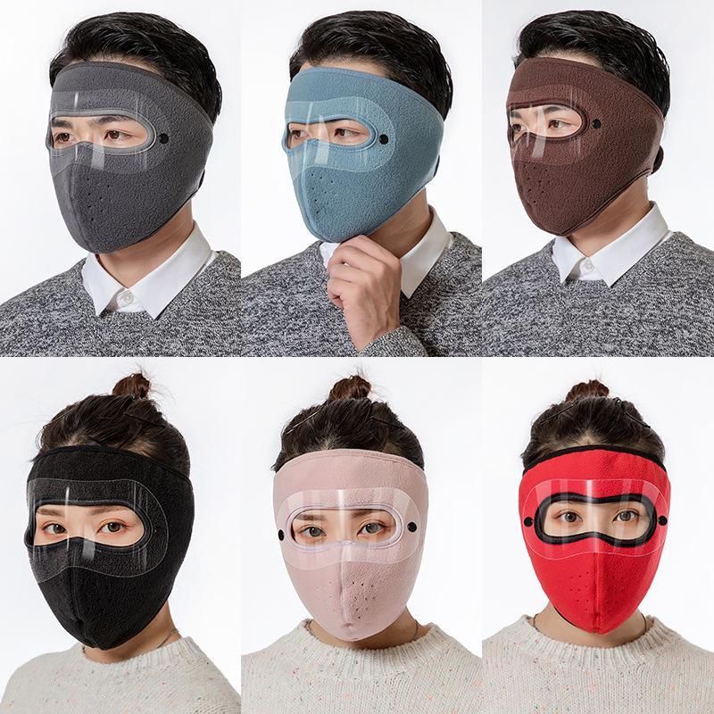 2020 Yeni 8 Renkler Sonbahar Ve Kış Sıcak Kayak Maskesi Açık Sürme Çift Katmanlı Polar Polar Göz Koruma Maskesi Toz Geçirmez Yüz Maskeleri