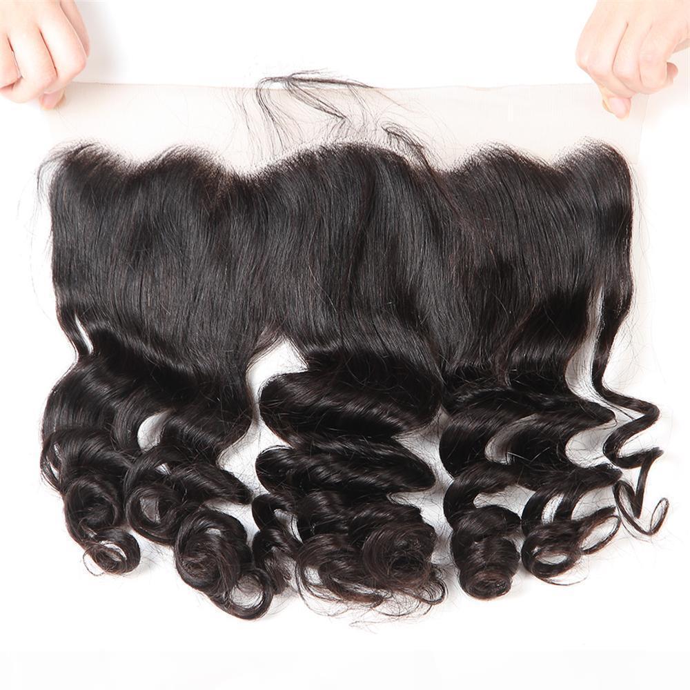 Courly Swiss Lace Frontal Clock Ohr zum Ohr 13x4 Rohe Jungfrau Indian Curly Human Hair Volle Frontals Schließung Natürliche Haaransicht