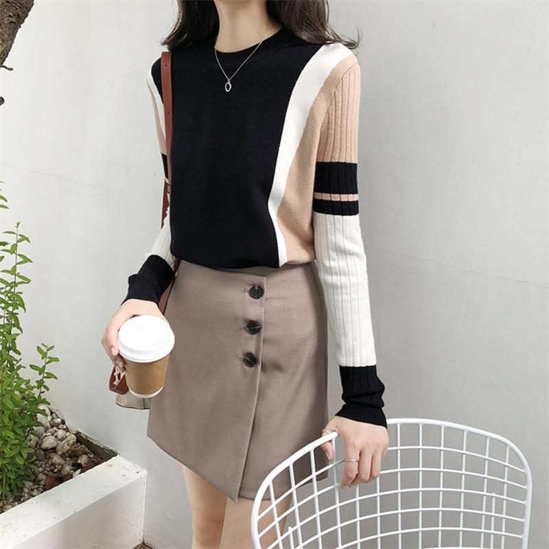Venda quente outono outono camisola de inverno mulheres contraste cor pulôver pulôver manga comprida o-pescoço de malha tops outwear puxar femme d301 y200909