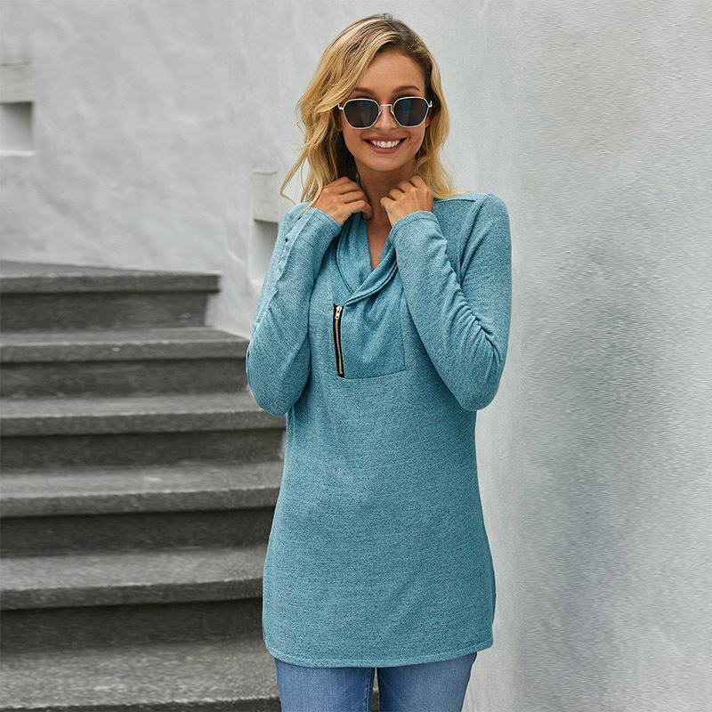 2020 New hiver T-Shirt Femme de couleur unie Pull à manches longues Diagonal Zipper Vêtements femme mi-longs vêtements féminins