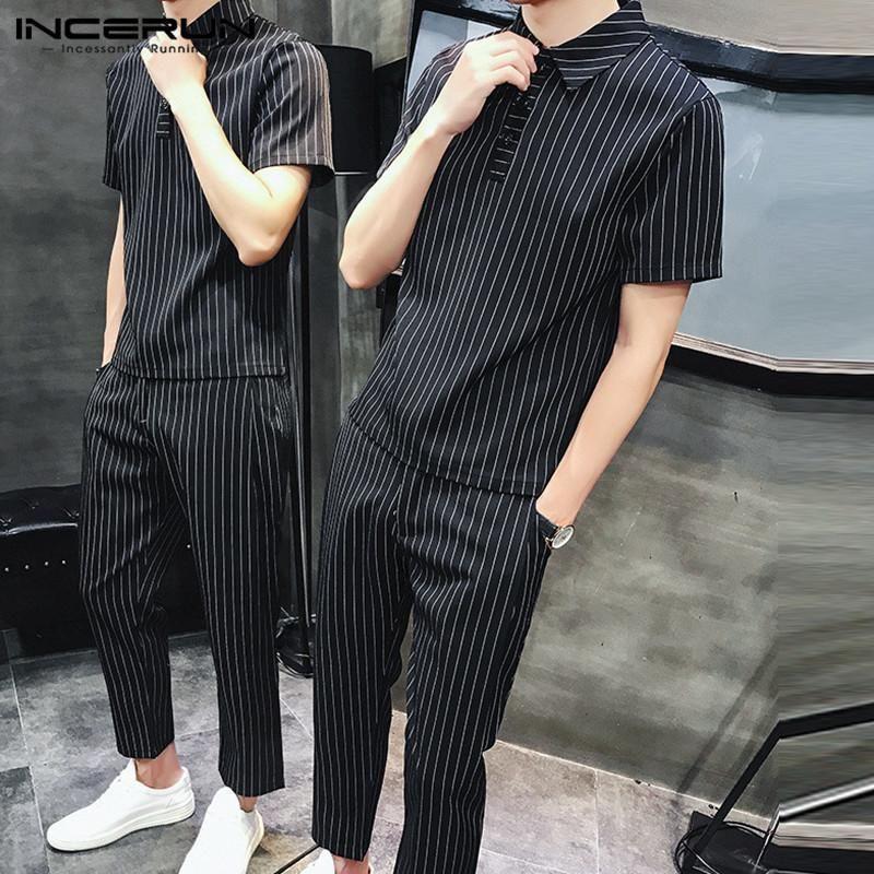 2020 Moda Uomo Abiti casual uomini a strisce Imposta manica corta risvolto camice pantaloni a vita elastica estate Vintage 2 Pezzi Taglie