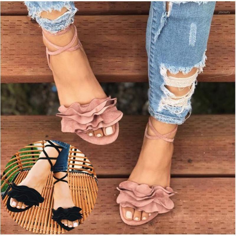 Летняя обувь Женщина Cross Bandage Сандалии Квартиры Квартиры на шнуровке Лордовые ремешка Sandalias Mujer Женская обувь оборками Sandal Plus Size1
