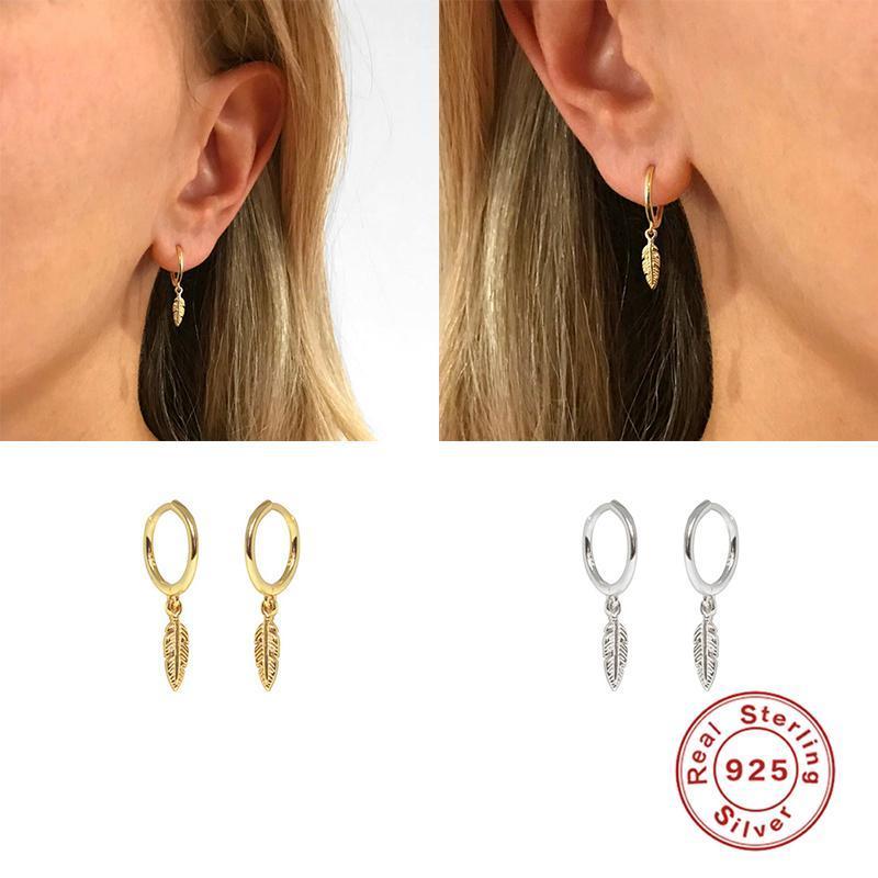 Lusso 925 Sterling Silver orecchini a cerchio per orecchini pendente delle donne orecchino della piuma brinco Belle orecchini paio dono