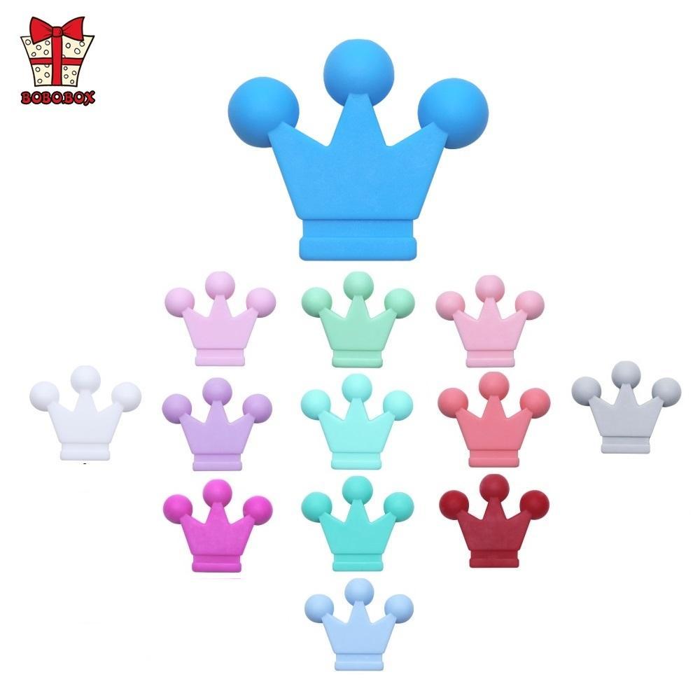BOBO.BOX 50шт Food Grade Crown Силиконовые бусины Прорезыватель Грызуны младенца Зубные игрушки DIY прорезыватели Бисер ожерелье Уход Аксессуары 201008