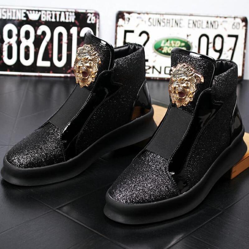 NEW schwarz Designer Hochwertiges Leder Loafer Männer Schuh mit dicker niedriger Niete, beiläufigem Brett mit hohen Höhe zapatos sapatos