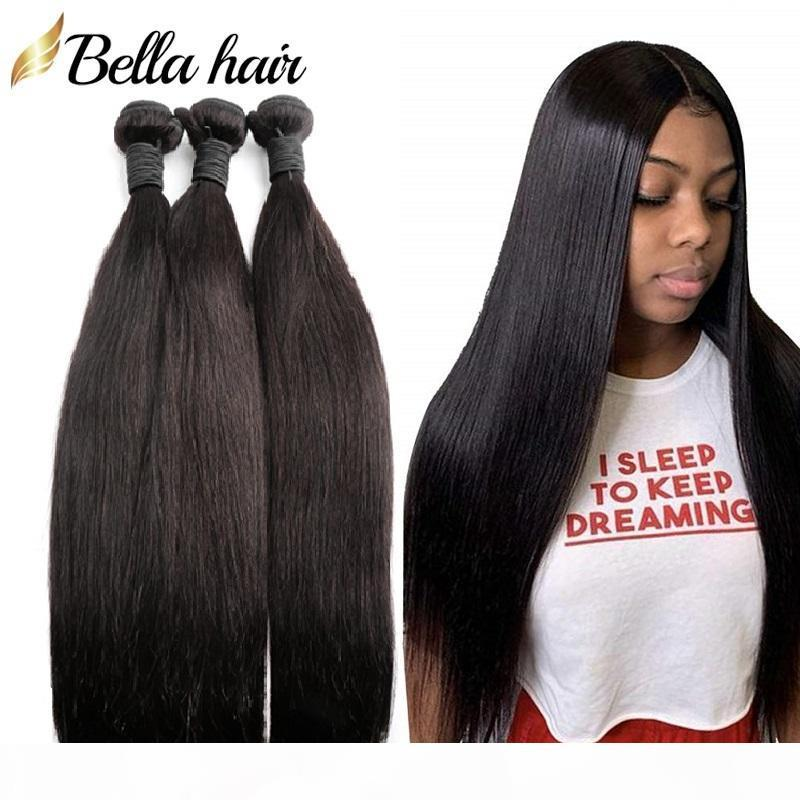 Bellahair Virgin cheveux humains non transformés Bundles Brésilien Indien malais du Pérou Extensions de cheveux Trame Silky cheveux raides Tissages 3PCS 9A