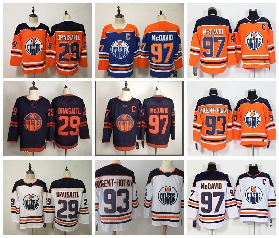 남성 여성 키즈 Edmonton oilers 97 Connor McDavid 저지 29 Leon Draisaitl 19 Mikko Koskinen 하키 유니폼