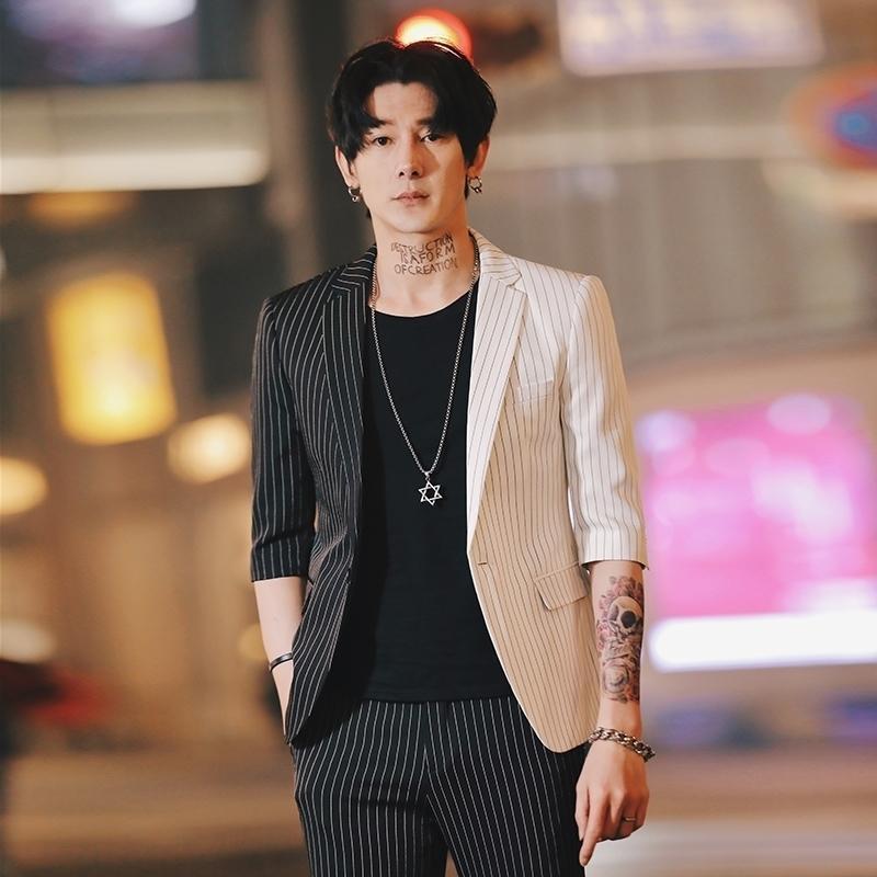 paletó de verão Stripe Mens Blazers coreana para homens Impresso Blazer Slim Fit Social Club Mens Smoking Para Hombre Homme 201104