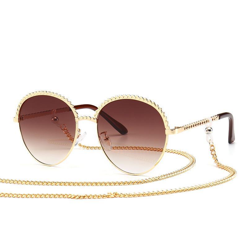 1980ss lente redonda moderna con la cadena de sol moda de celebridades Calle Gafas de sol de oro Marco de la cuerda de metal sombreado de los vidrios