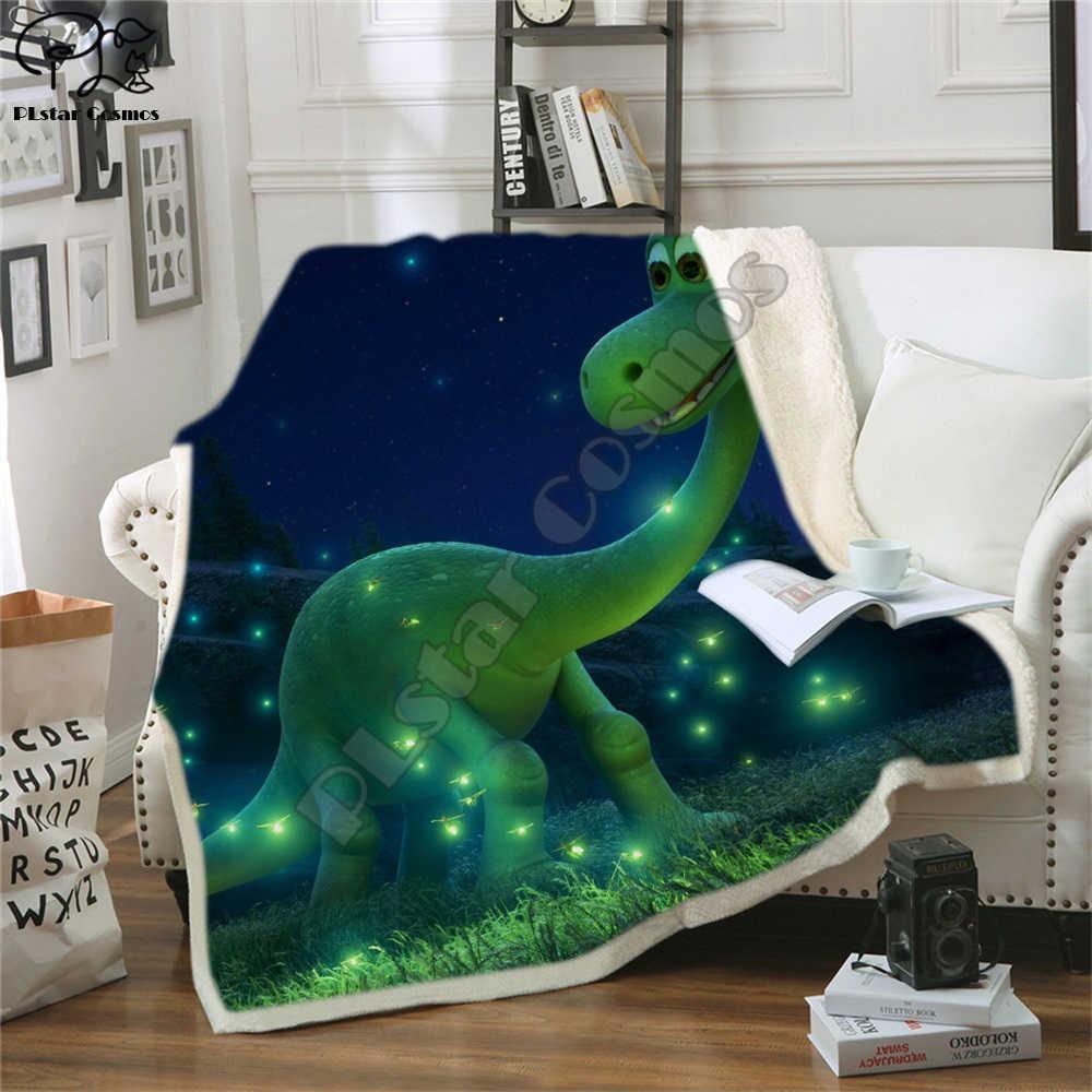 Çocuklar Çocuk Yatak Outlet Dinozor Kabarık Yumuşak Pamuk Battaniye Jurassic Karikatür Erkek Kız Yataklar için Battaniye Atmak Ev Tekstili Y201001