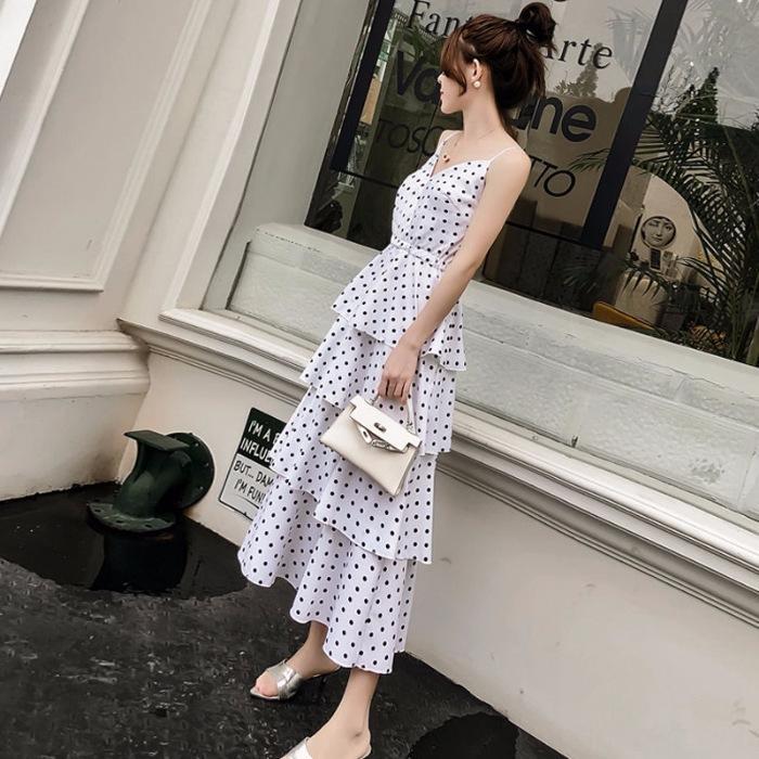 72ZaZ 2019 лето шифон отдых SkirtSuspender Бич Skirtcake нового праздник юбка пляж точка приморский подвязка платье волна юбка женщины ОП