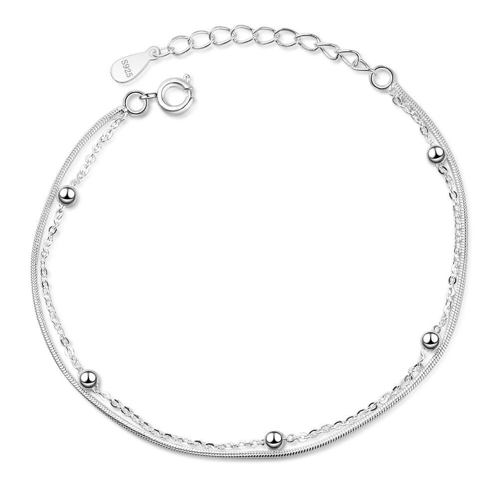 Abalorios pulsera del grano para las mujeres Mujer para mujer joyas fiesta de cumpleaños regalo de moda informal Corea accesorios plateados plata 063
