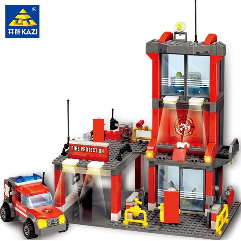 300 шт. Городская пожарная полиция строительные блоки наборы пожарной станции бой двигатель автомобиль модель создатель кирпича цифры образовательные детские игрушки x0102