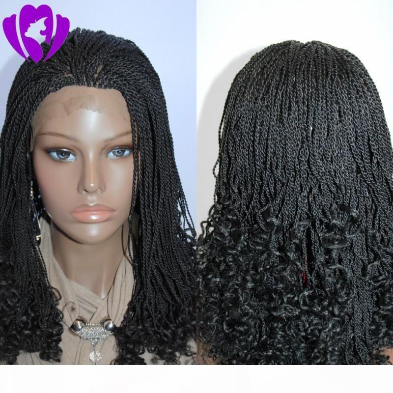 Envío gratis bob corto estilo giro rizado peluca a mano atada a mano resistente al calor pelucas de pelo trenzado sintético peluca frontal de encaje para mujeres negras