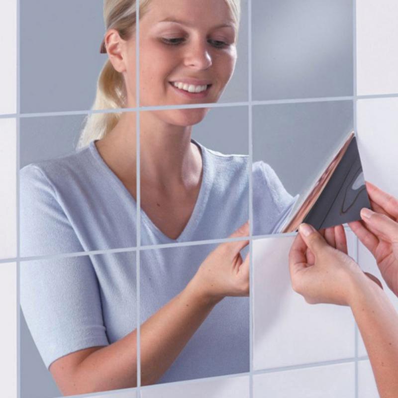 0.1 ملليمتر diy مرآة الجدار ملصق 15 * 15 سنتيمتر ذاتية اللصق الحيوانات الأليفة كامل الجسم لينة مرآة الحمام ملصقا للماء