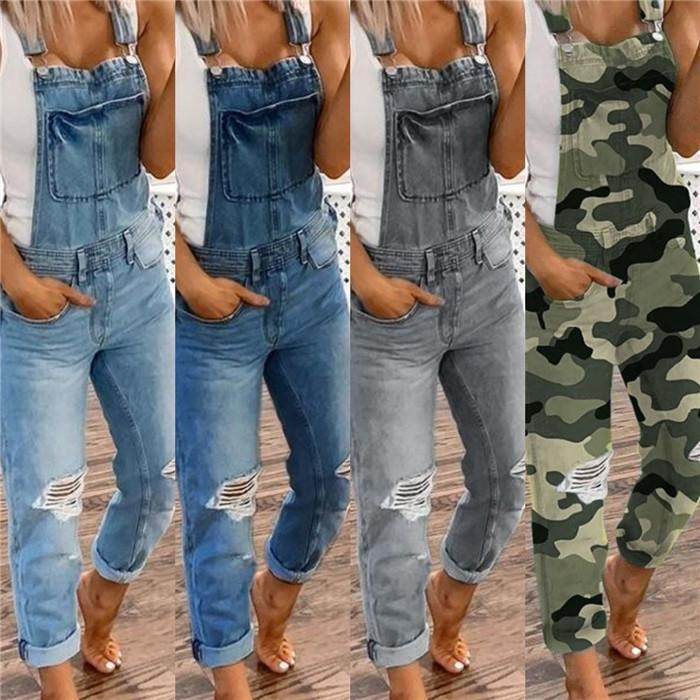 Moda Delik Denim Tulumlar Kadın Tasarımcı Düz Çift Omuz Sonbahar Casual Kaykay Artı boyutu Kadınlar Jean tulum Pantolon tulumlar