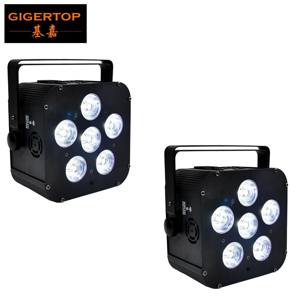 Freeshipping 2 x UPLIGHT 6 * 18W 6in1 RGBAW batería Operado UV Pantalla LED Par LED Smooth de lavado de bajo ruido