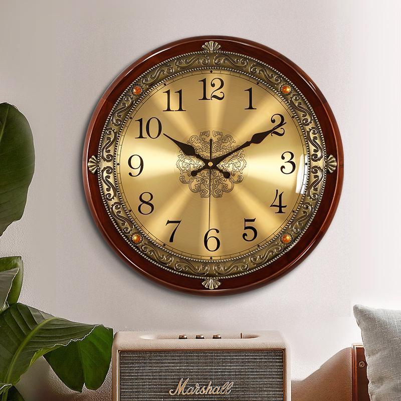 ساعات الحائط كبيرة الصلبة الخشب الرجعية ساعة غرفة المعيشة الأمريكية الأوروبية صامت نوم الإبداعية ووتش الرئيسية relogio دي parede هدية FZ635