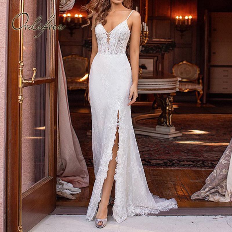 Ordifree 2021 여름 여성 긴 파티 드레스 섹시한 백리스 화이트 레이스 분할 바디 콘 맥시 드레스