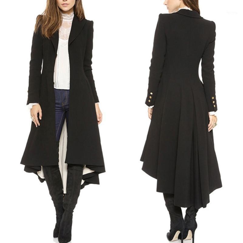 2017 Moda Kadınlar Uzun Kırlangıç Siyah Siper Zarif Ince Artı Boyutu Peplum Maxi Panço Ceket Femme Dantelli Düğme Siper Dış Giyim1