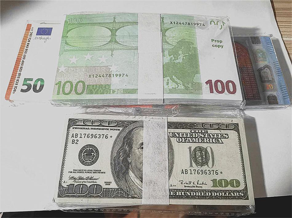 Heißer Verkauf Gefälschiger Euro Banknote-Requiat-Spielzeug-Fälschungs-Waffe-Banknote gefälschte Filmgeld-Spiel-Sammlung Bar Atmosphäre Bühnengeburtstagsfeier