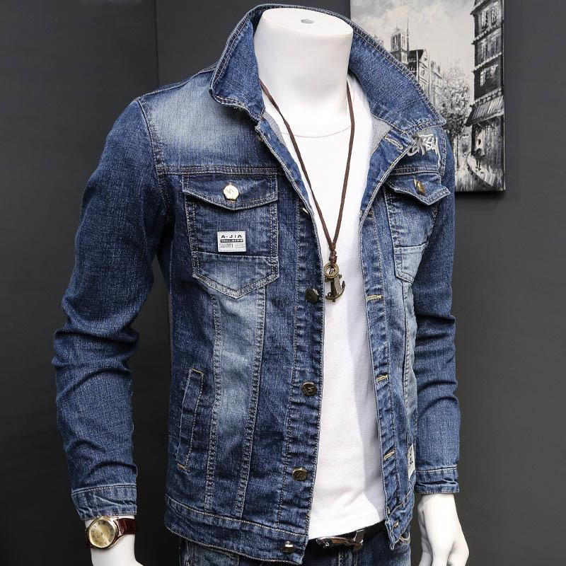 fashion Denim jacket mens letter jacket slim embroidery spring and autumn youth stand-up collar long-sleeved denim coat 201013