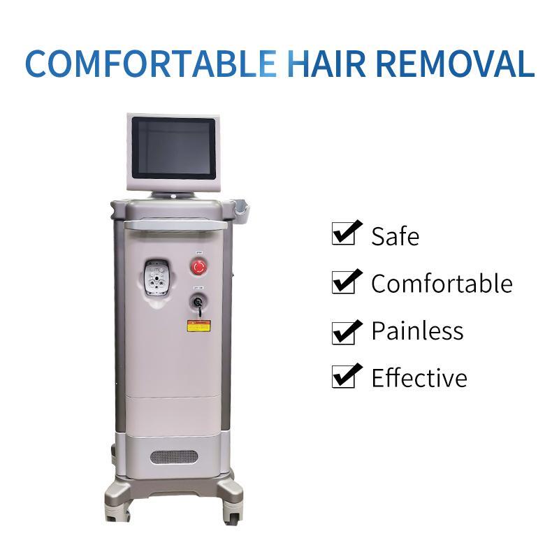 Máquina de depilación láser de diodo vertical de alta potencia 600 / 1200Watts con tres longitud de onda 808nm + 755nm + 1064nm para spa / clínica / salón