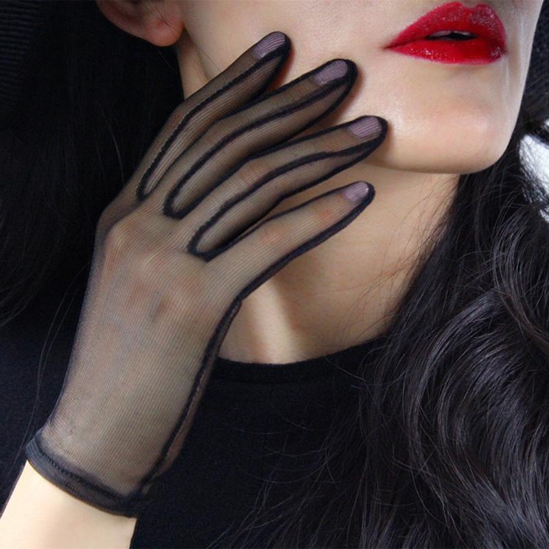 Пять пальцев перчатки черные шелковые короткие женские летние лето кружева сетки марля ультра тонкой винтажной элегантной оперной прозрачной партии перчатка