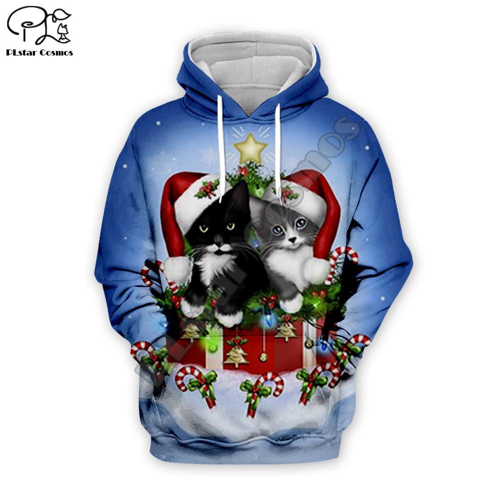 Мужская и женская одежда с трехмерными шляпы, кошки принты Санты, рождественские подарки, толстовки пары, молния куртки, Харадзюку