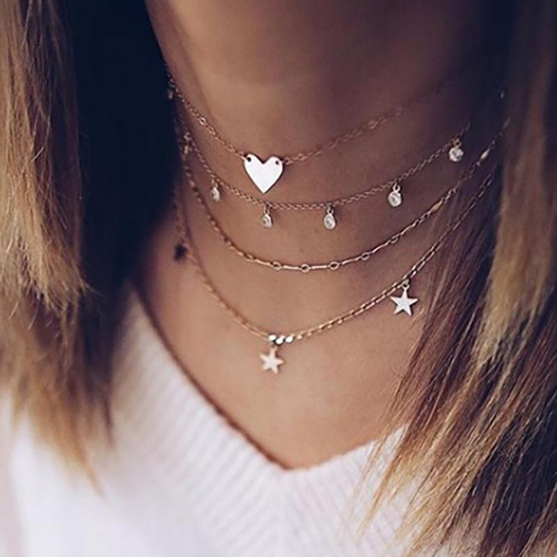Exknl collar de gargantilla collar de color oro collar de múltiples capas de la vendimia Love Party Animal estrella borla de las mujeres de la joyería de moda