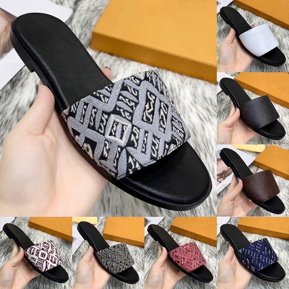 Moda Womens Luxurys Designers Flat Slides Flip Flops Chinelos Austrália Couro Verão Outsole Jacquard Tecido Lona Sexy Senhoras Sandálias Clássicas