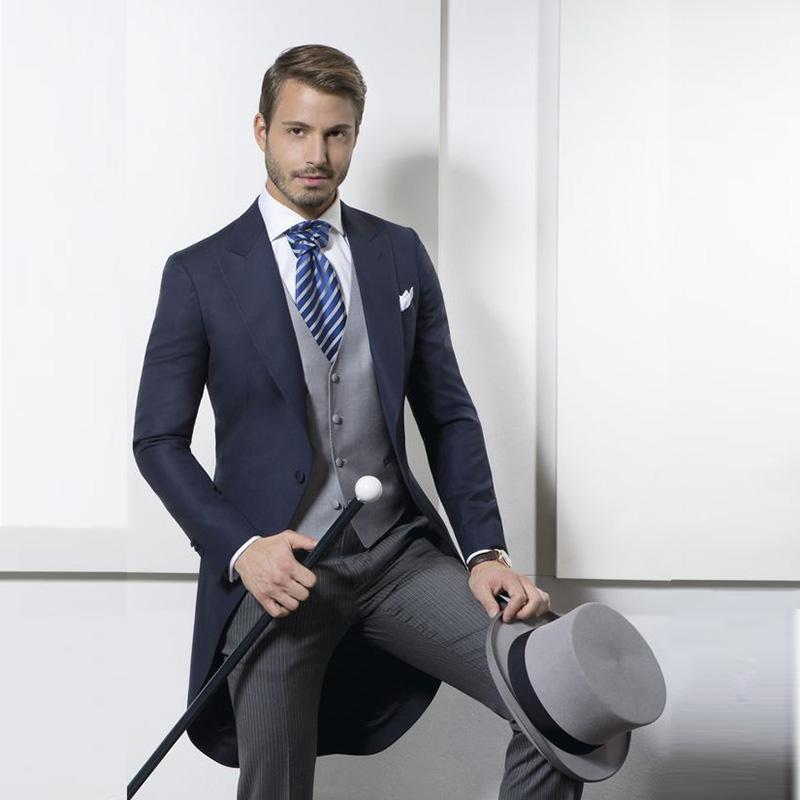 Lunghi cappotti blu navy cappotti tailcoat cappotto mattutino tute di nozze per uomo maschio blazer slim fit tuta con pantaloni a righe per partito 3 pezzi