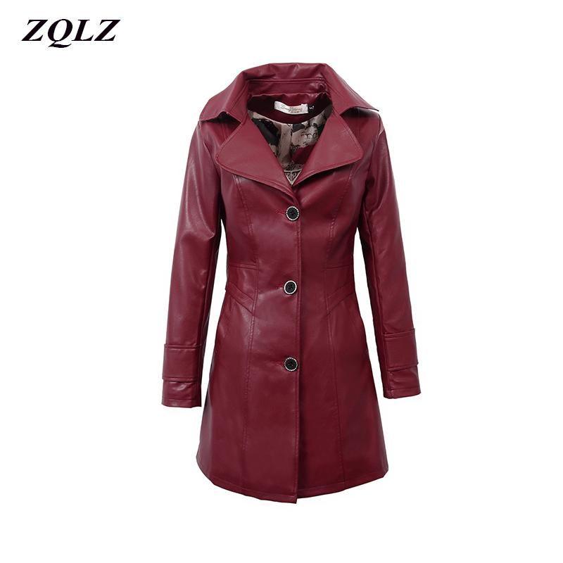ZQLZ artı Boyut 5XL Bahar Sahte Deri Ceket Kadınlar 2020 İnce Pu Deri Ceket Günlük Kış Biker Palto Kadın