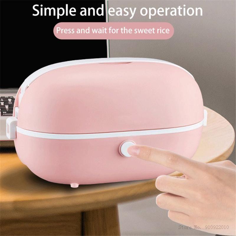 Portable Rice Cooker elettrico MultiCookers Mini Rice Cooker interno riscaldamento termico per il pranzo cotture Box Multi