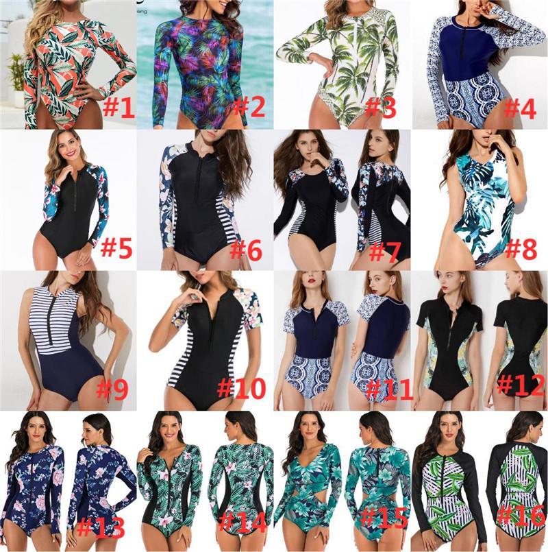 Bikini Surfing Swimsuit for Women Long Sleeve One Piece Bodysuit Leaves Print Sexy Bikini Brasileño Summer Push Up Swimwear