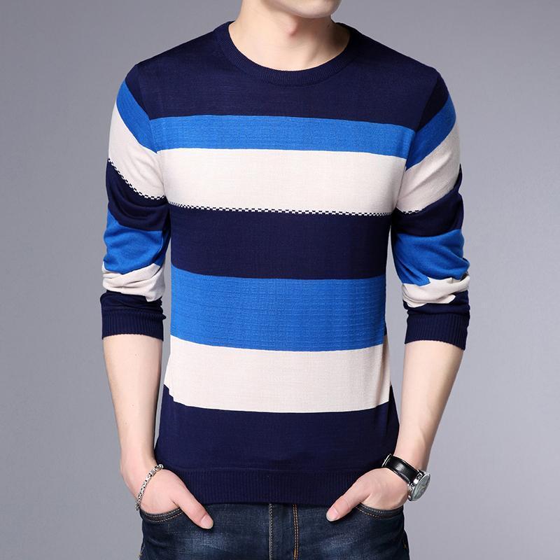 Ronda 2020 Nueva primavera y el otoño de moda cuello suéter manga larga hombres flojos de la raya de punto suéteres 1268