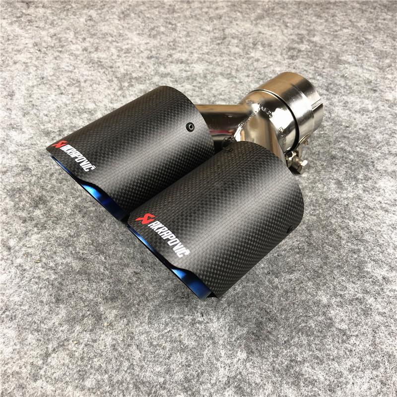 1 قطع Akrapovic سيارة مغلفة الأزرق الكربون العادم الأنابيب المزدوجة العالمي AK نهاية نصائح كاتم الصوت