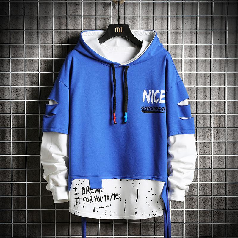 Oversized Mens Hoodies Men 2020 Ripped Patchwork Hip Hop Japanese Streetwear Harajuku Blue Hoodie Men Sweatshirt Male