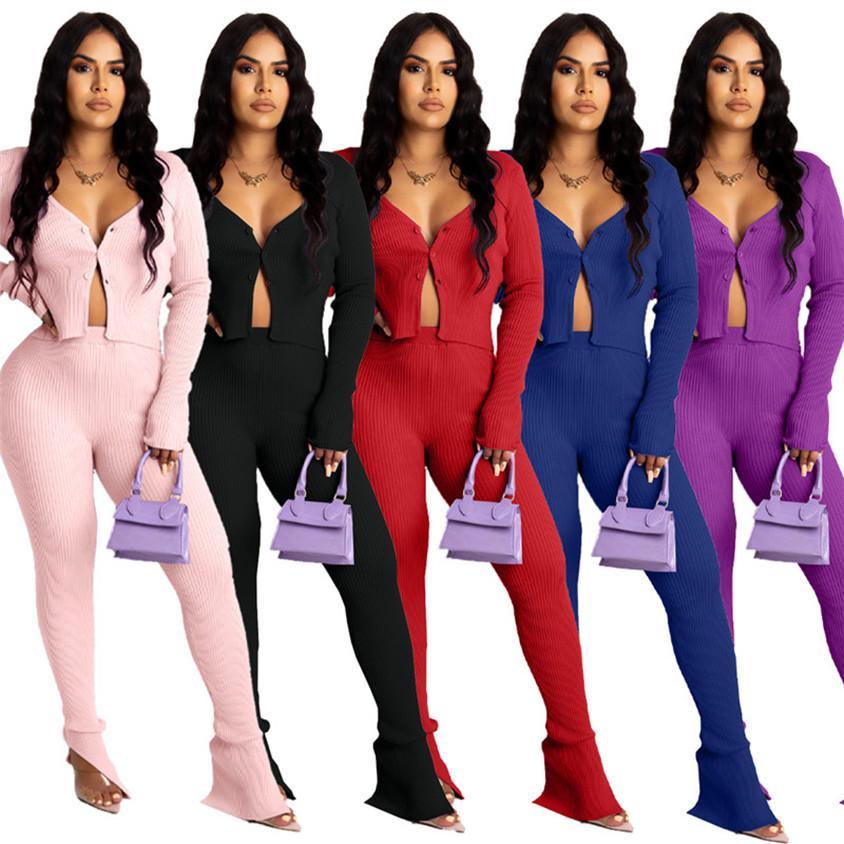 Donnetters Designer Tracksuits Two Piece Autbiti Coltivazione Top + Leggings Plain Sweatsuit Jogger Suit Sportswear Loungewear Button Apertura 2XL 3993