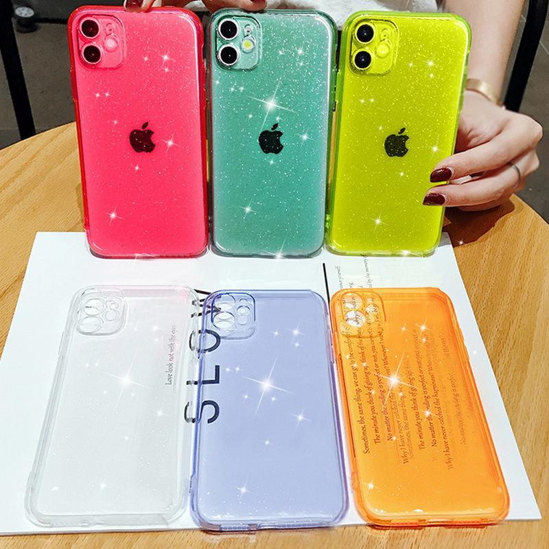 Bling caso del brillo para el iPhone Max 11 7 8 XR X la caja del teléfono suave claro XS Pro