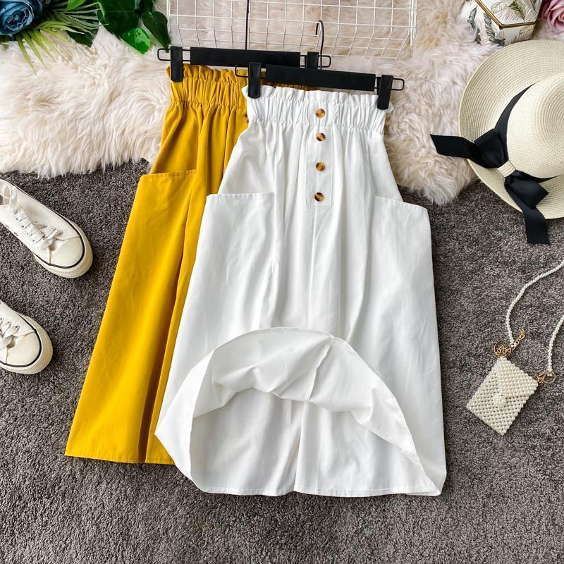 Mode Koreanische Baumwolle Retro Rock Weibliche 2020 Frauen Tasche Elastische Taille Rock Kleine A-Linie Hohe Taille Rock Womens Midi Röcke