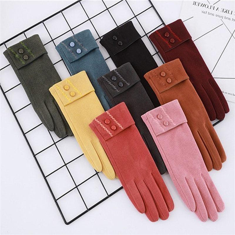 Klassische Frühling Winter Frauen Handschuhe Kurzer Fleece Touchscreen Handschuh Winddicht Warme Handschuhe Mode Damen Telefinger Handschuhe Ridi