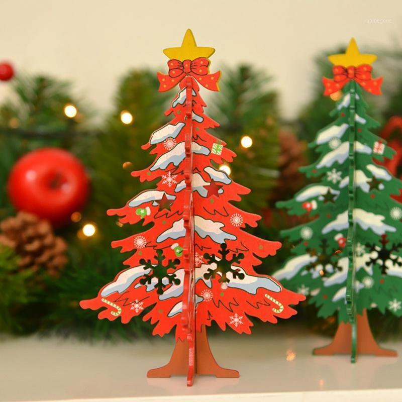 Decorazioni natalizie Fette di legno Splicing fai da te 3D albero ornamento festivo festa decorazione regalo fornitures1