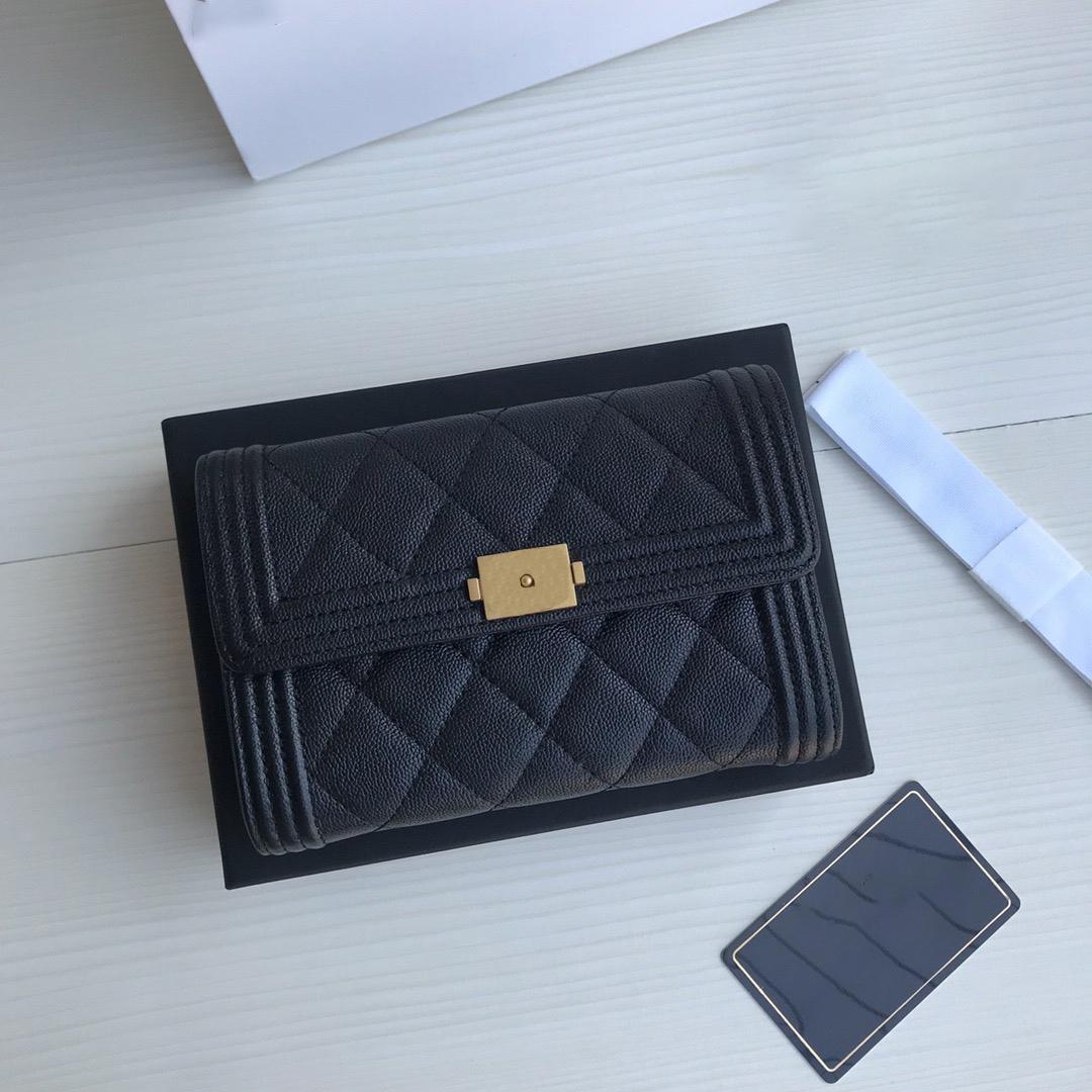 Beste Qualität Echtinel Leder Herren Geldbörse mit Box Luxurys Designer Wallet Womens Wallet Purese Kreditkartenhalter Passhalter 005