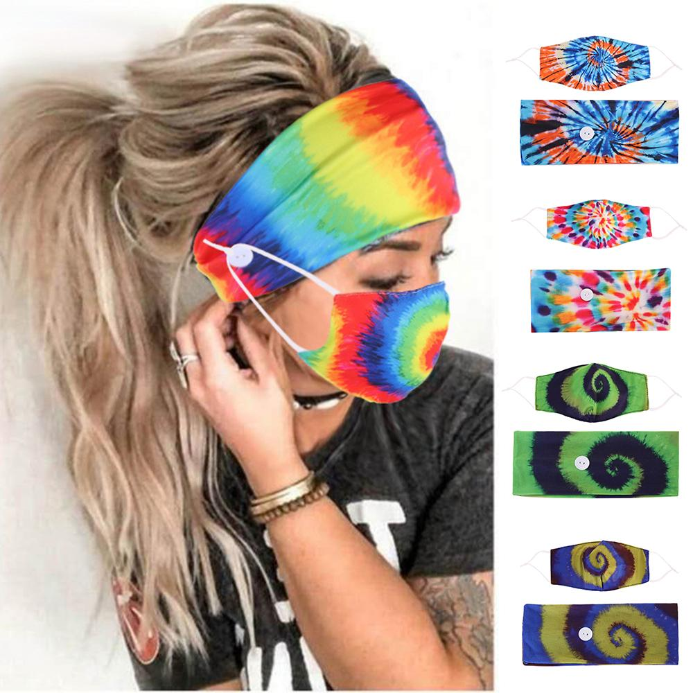Tie-dye Hair Band Masks Set Spiral Pattern Button Anti-Leash Hair Face Mask Headscarf Accessories Movement Elastic Designer Headband HHA2093