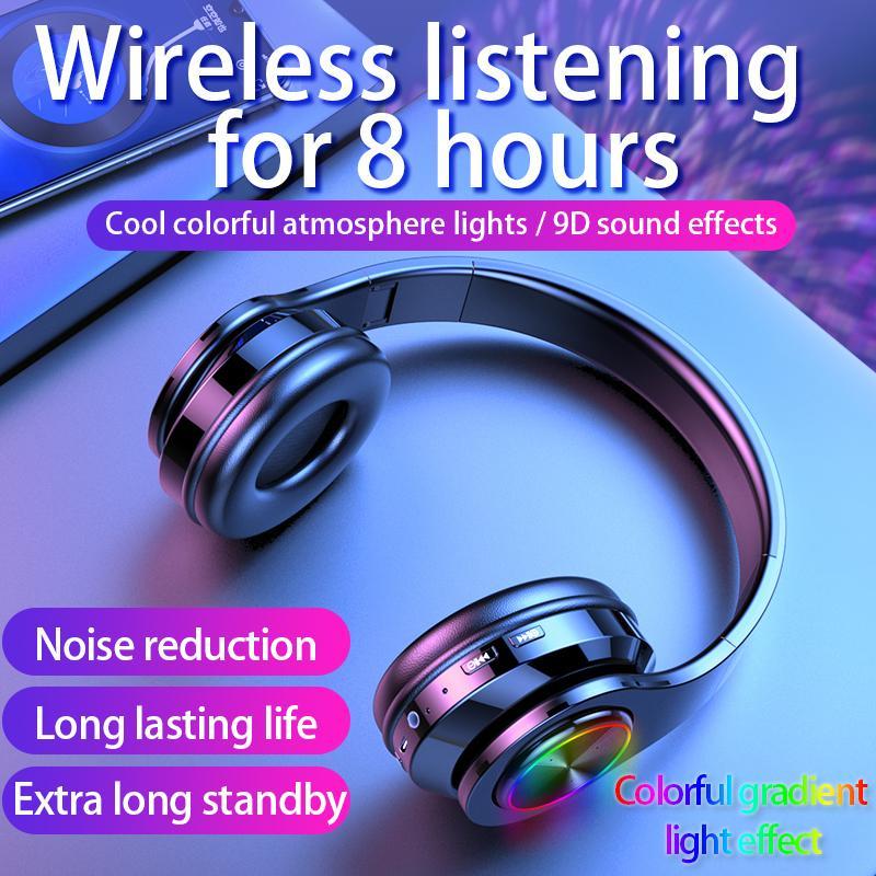 Casque sans fil Bluetooth écouteurs stéréo 5.0 Deep Bass Noise Reduction Gaming Casques d'écoute pour Mobile