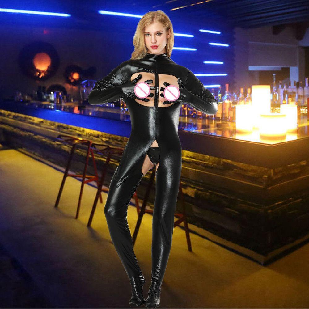 Charmed Tubo de couro envernizado vestido lingerie Plus Size Mulheres Nightdress Abra Bra Crotchless Latex Nightclub roupa