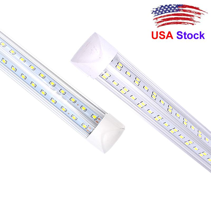 Stock In US + 2ft 3ft 4ft 5ft 6ft 8ft V-Shaped T8 Led Tubes Lights Integrated Led Lights Tubes AC 85-265V t8 4ft tube
