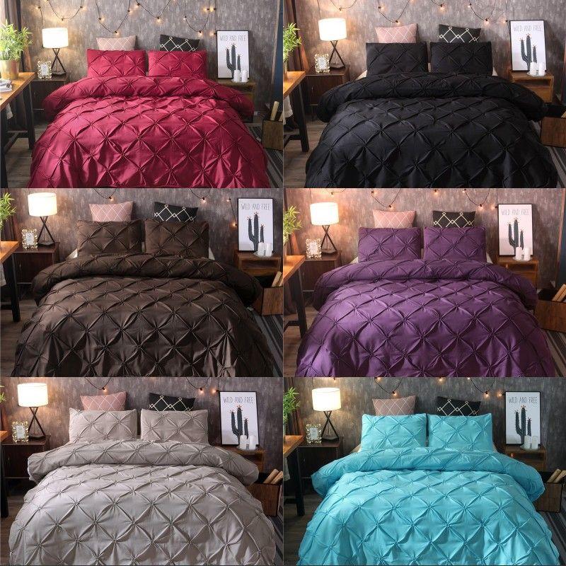 Solid Color Bedding Sets Quilt Cover Pillowslip Versatile Pulling Flowers Hot Sale Color Mix King Size 82xq K2